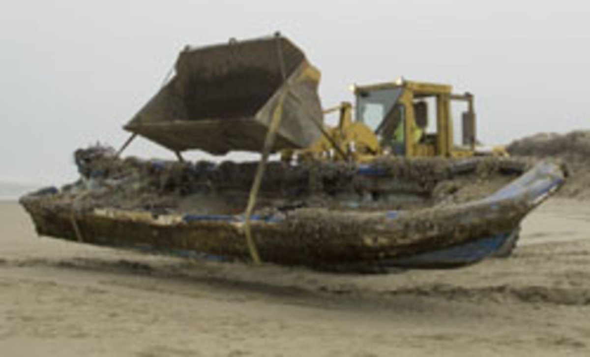 This 30-foot derelict boat with Japanese writing was removed from Oregon's Horsfall Beach on Feb. 21.