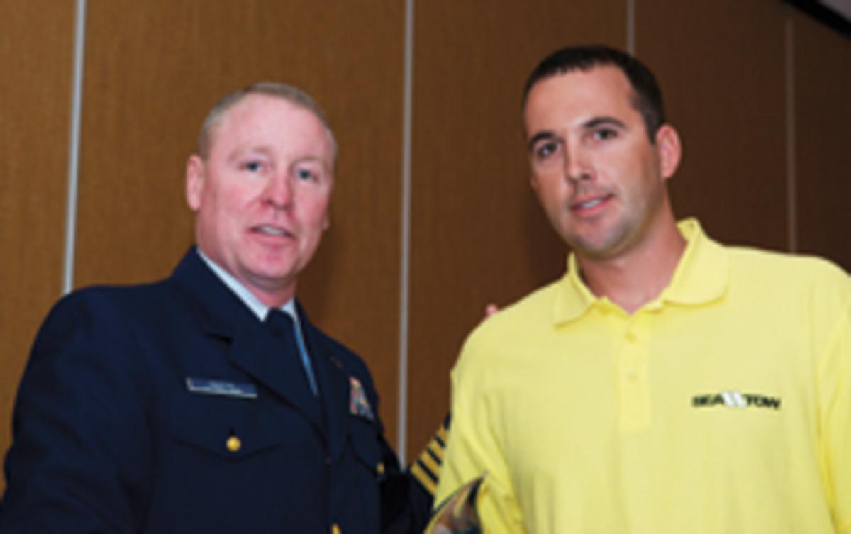 Coast Guard Capt. Peter Martin (left) and Sea Tow Capt. Greg Mallek.