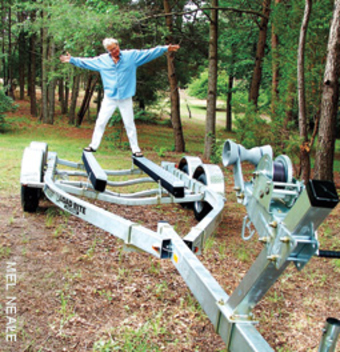 Tom was liberated when he discovered bunk boards. No more trailer rollers to replace!