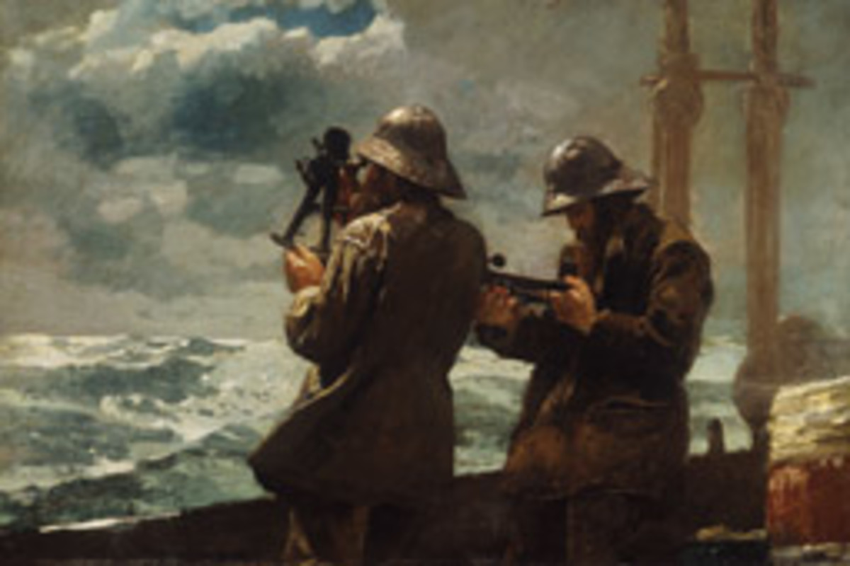 Winslow Homer's 1886 oil painting Eight Bells depicts two sailors using sextants, the modern navigation instrument of the day.