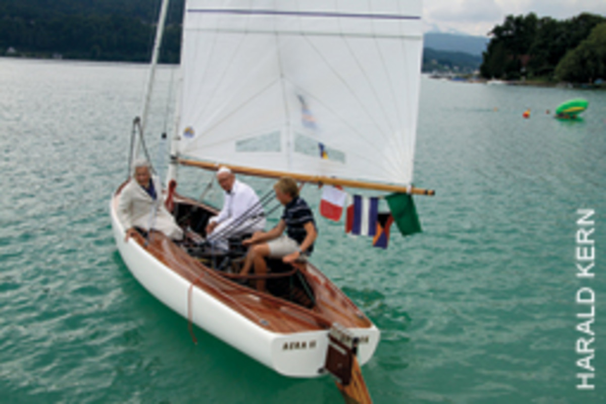Gerti (left) and Hubert Kern, who sailed Aera II as teenagers in the late 1930s, took a spin with their grandson after the boat's official relaunch last summer.
