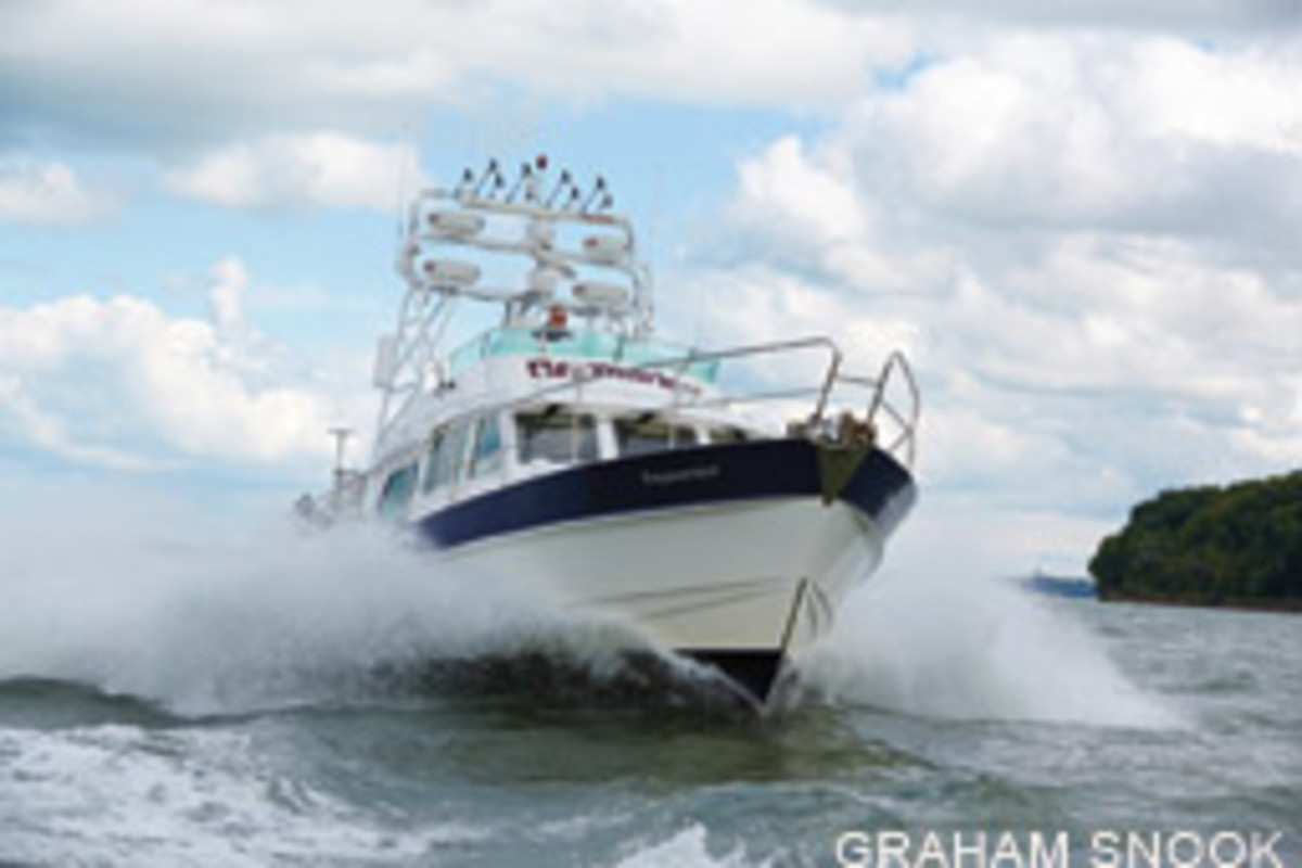 Raymariner, a 42-foot Hardy, is rigged with Raymarine and FLIR equipment for on-water testing.