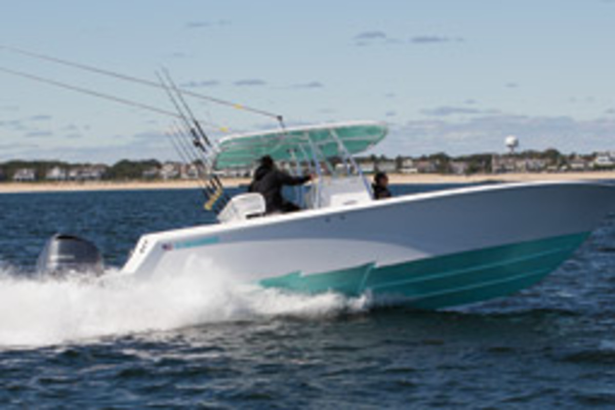 Hull steps incerease speed by drawing in air beneath the hull, which reduces drag. (A Contender center console is shown.)