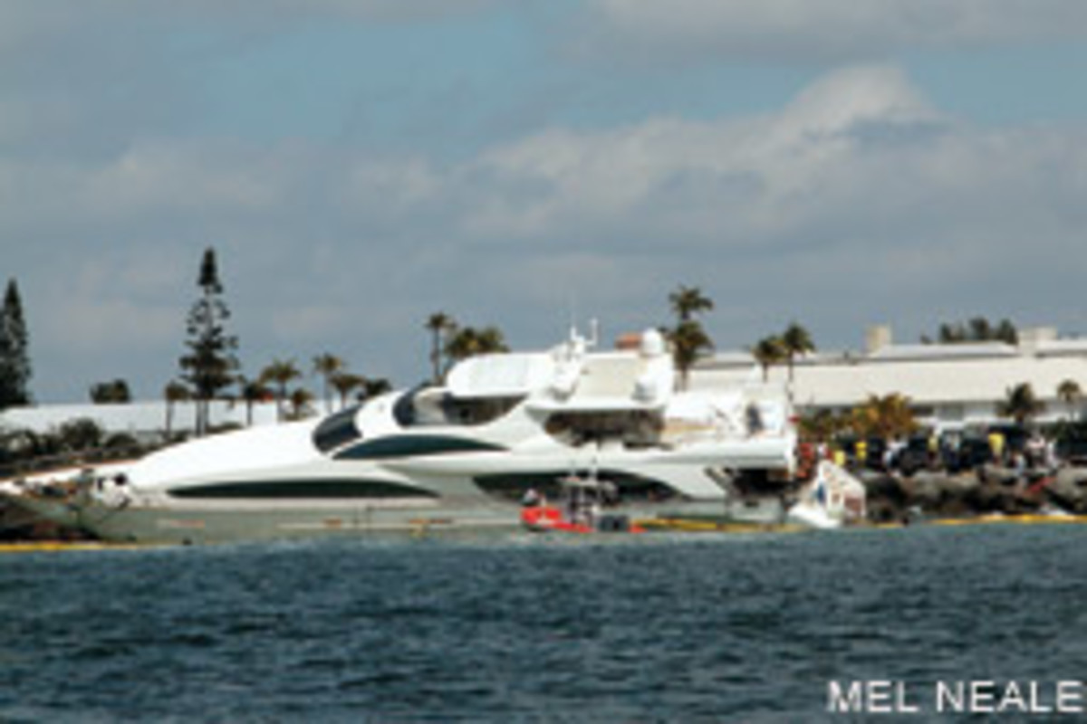 This Azimut megayacht found the north jetty at the well-marked Port Everglades Inlet in Fort Lauderdale, Florida.