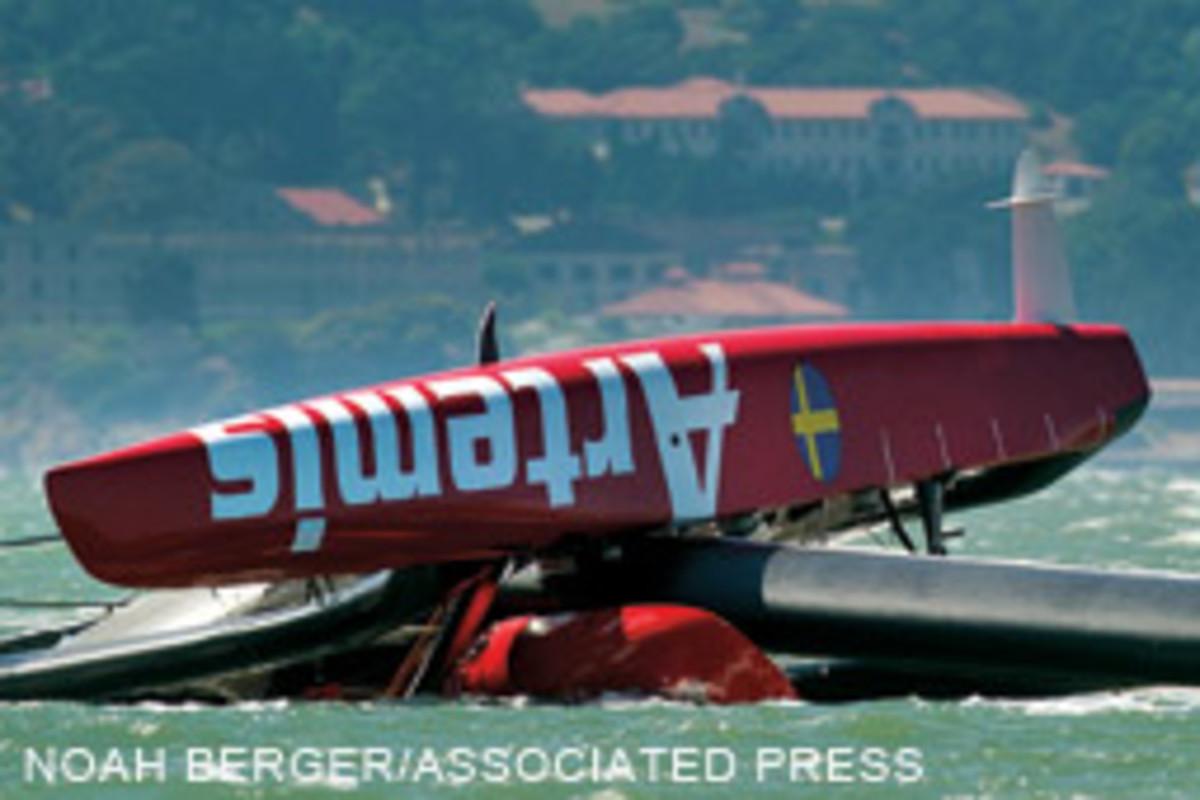 Artemis Racing's AC72 capsized during training exercises on San Francisco Bay.