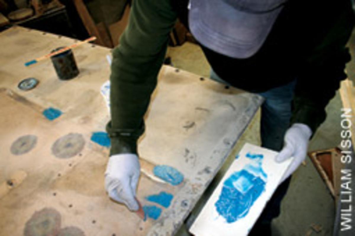 Koller repairs a deck panel.