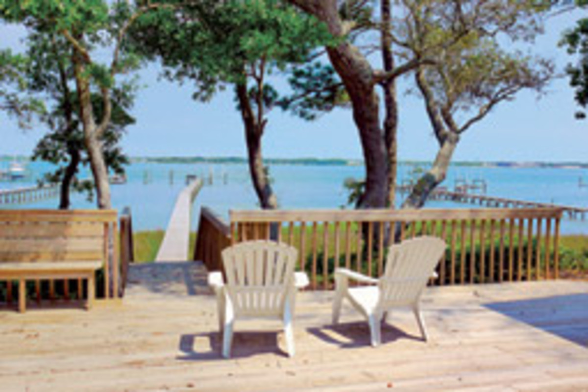 The waterfront deck offers a scenic view of the Intracoastal Waterway.