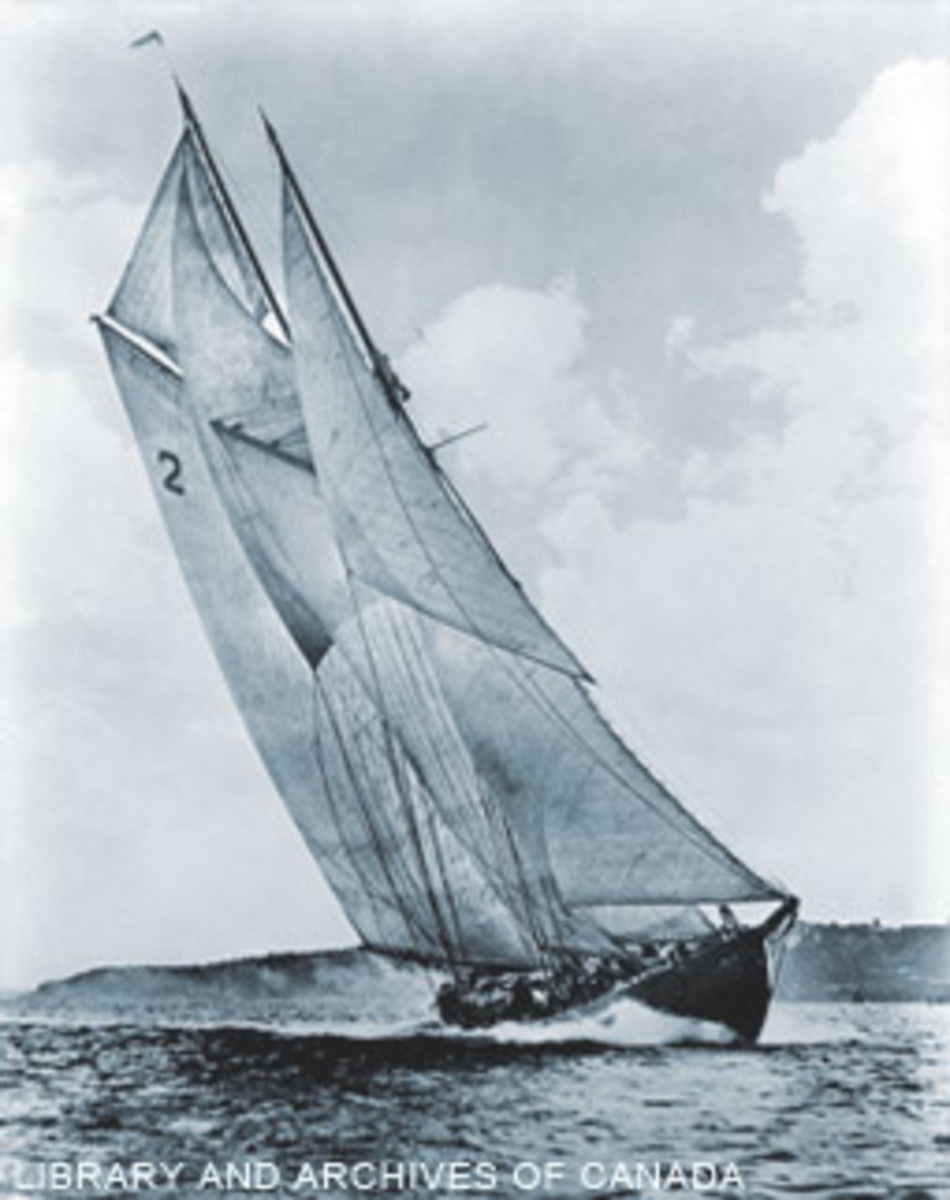 Bluenose under sail in 1938.