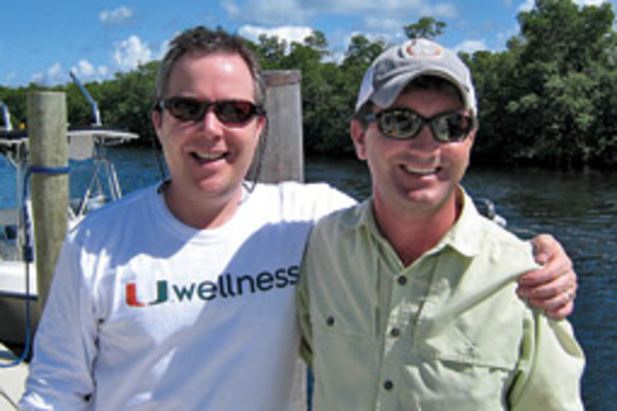 Jeffrey Bass (left) and James Koch had to avoid Martinez's unmanned boat, which was circling around the injured man.