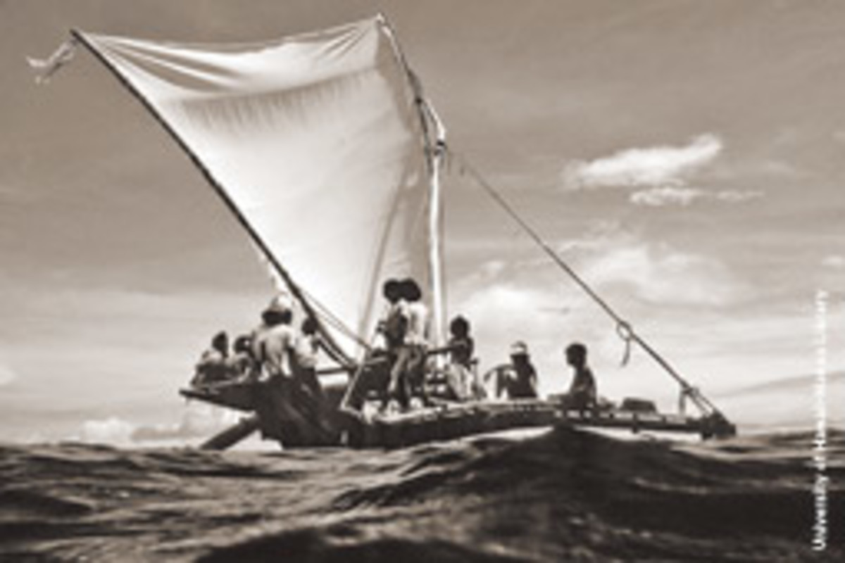 A traditional voyaging canoe off Satawal in Micronesia.