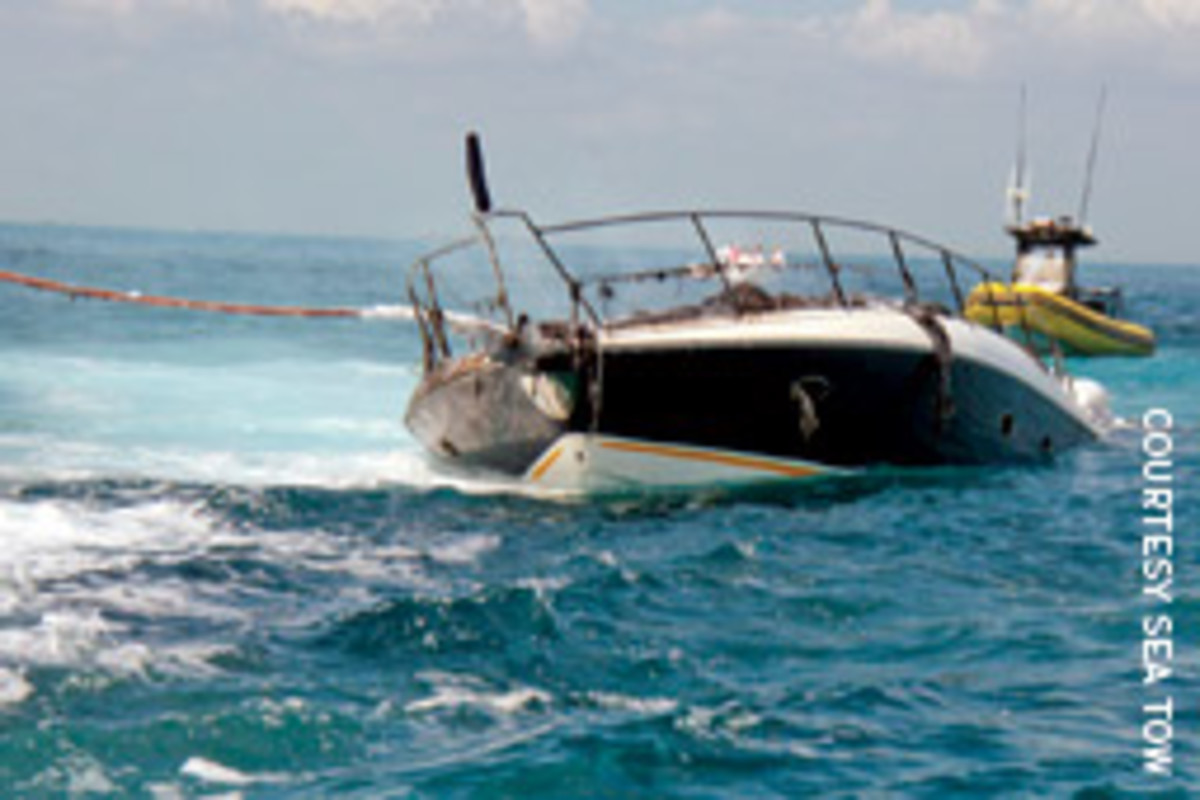 Sea Tow Key Biscayne Captain Craig Crumbliss was first on the scene when a Sunseeker burned and sank off Elliott Key.