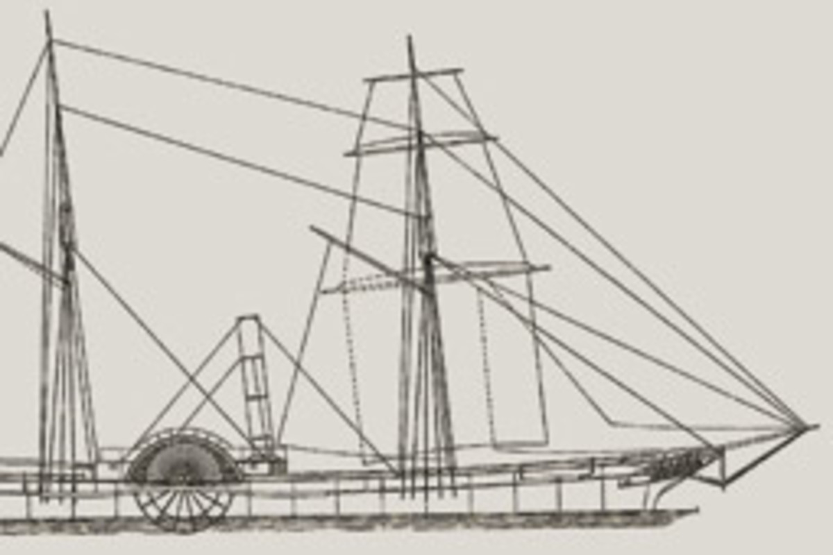 The 155-foot Saginaw was designed for the transition from sail to steam, with two paddlewheels and a pair of steam engines as well as a sailing rig.,