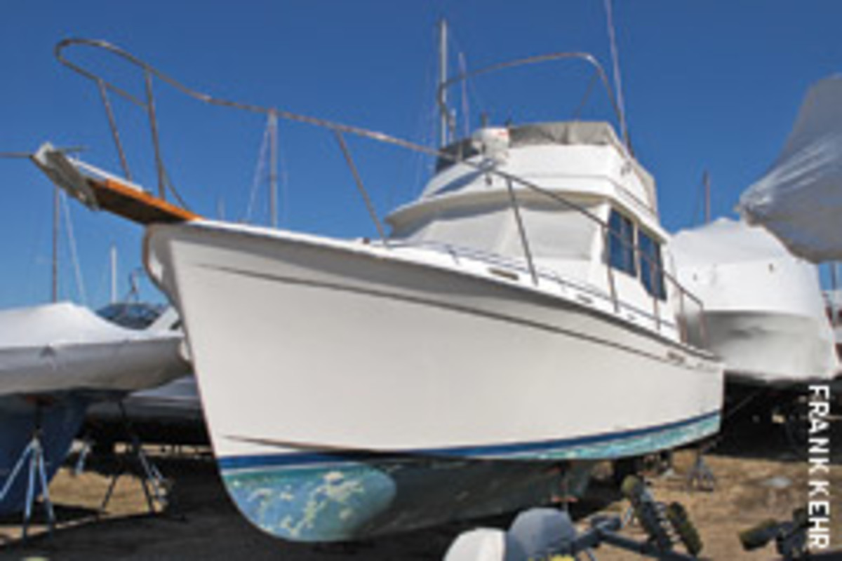 The Cape Dory 33 Flybridge that Willie Keillor bought as a project boat had been neglected on the hard for five years, so a thorough inspection with a qualified eye was critical.