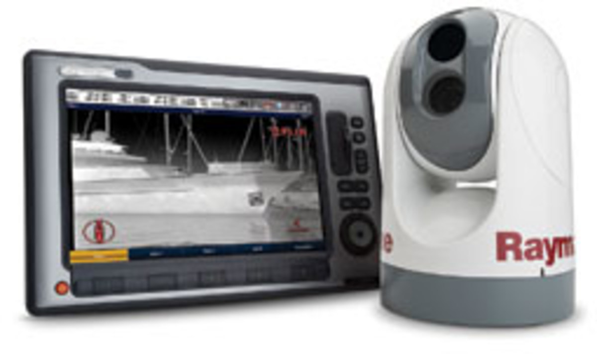 FLIR gear: The Raymarine T450 night-vision camera seamlessly integrates with the E-Series multifunction display.