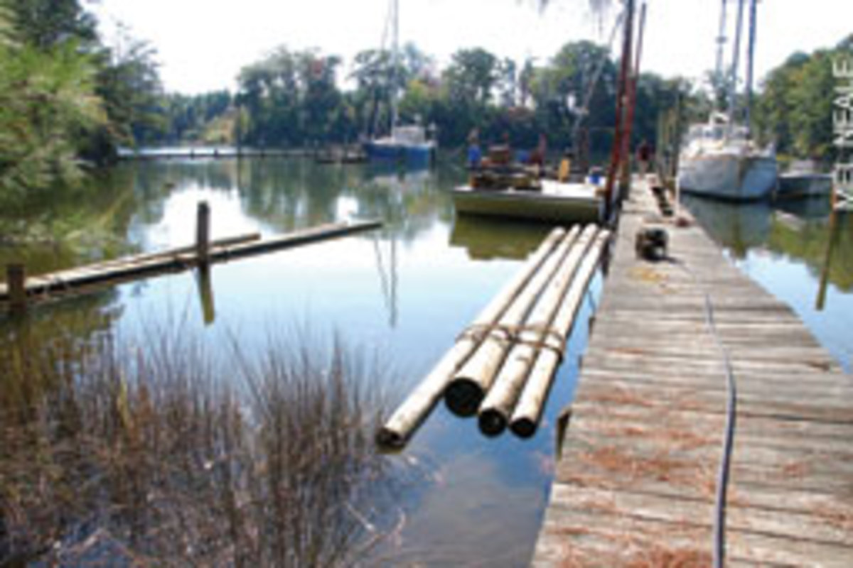 New 35-foot pilings were towed in to get the project started.