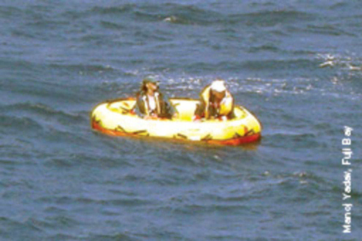 Ramsden and Ezell await rescue in a Coast Guard-provided life raft. This one held together.