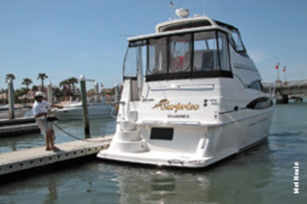 A boat with a lot of windage can be challenging to maneuver around the dock, though thrusters can help.