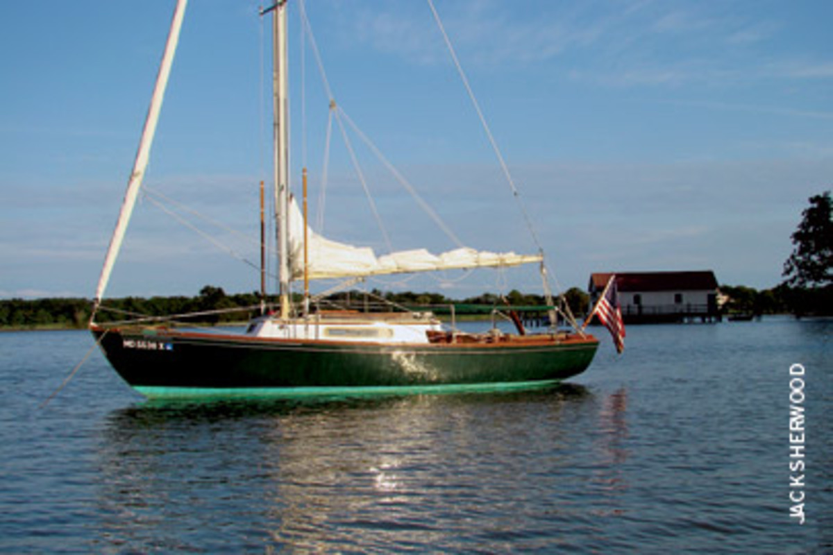 Erewhon at rest for the evening in Pink Castle Cove, Leeds Creek, off the Miles River in St. Michaels, Md.