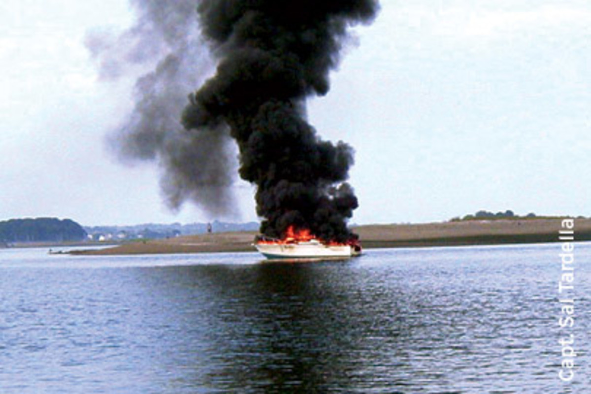 Authorities aren't sure why this 1984 Bertram exploded while under way.
