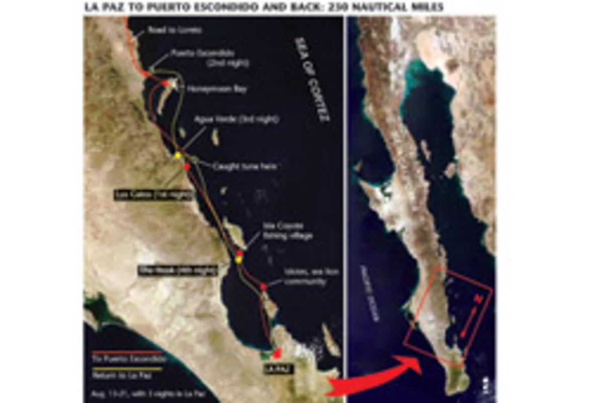 La Paz to Puerto Escondido and back: 230 nautical miles.