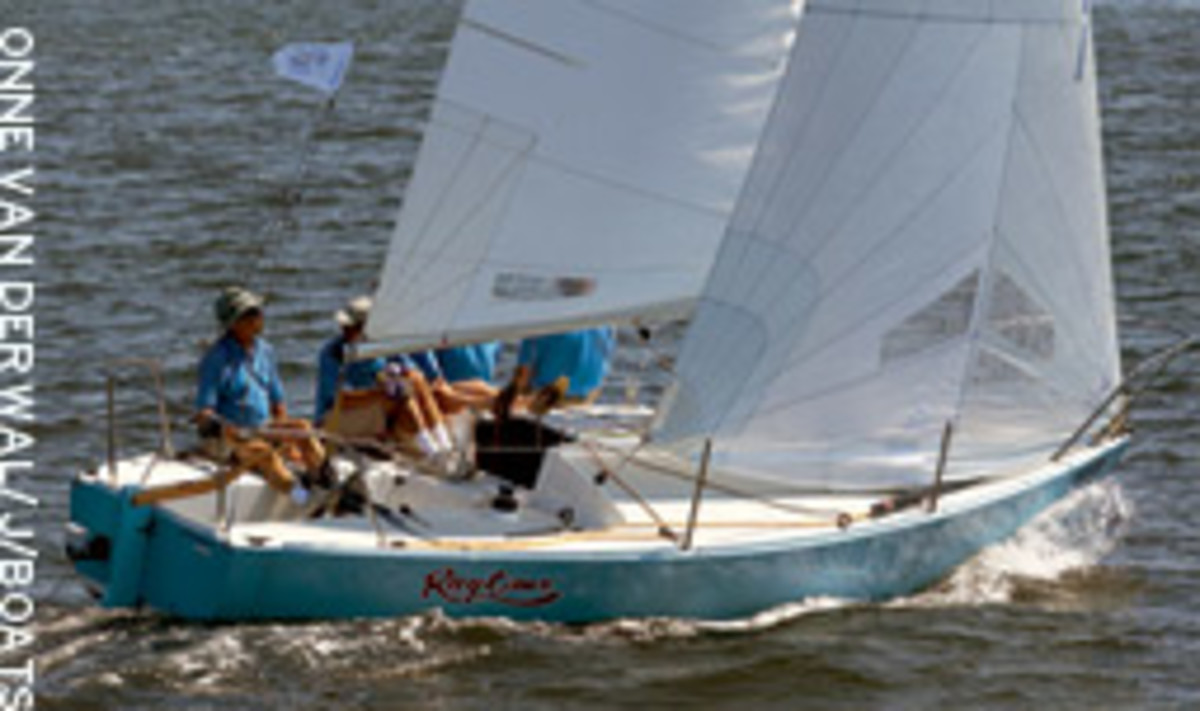 Rod Johnstone steers a newer rendition of Ragtime during the 25th anniversary of the J/24 in Newport, R.I., celebrating the boat that started it all.