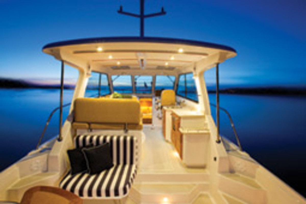 The Back Cove 34 has an attractive deck and pilothouse.