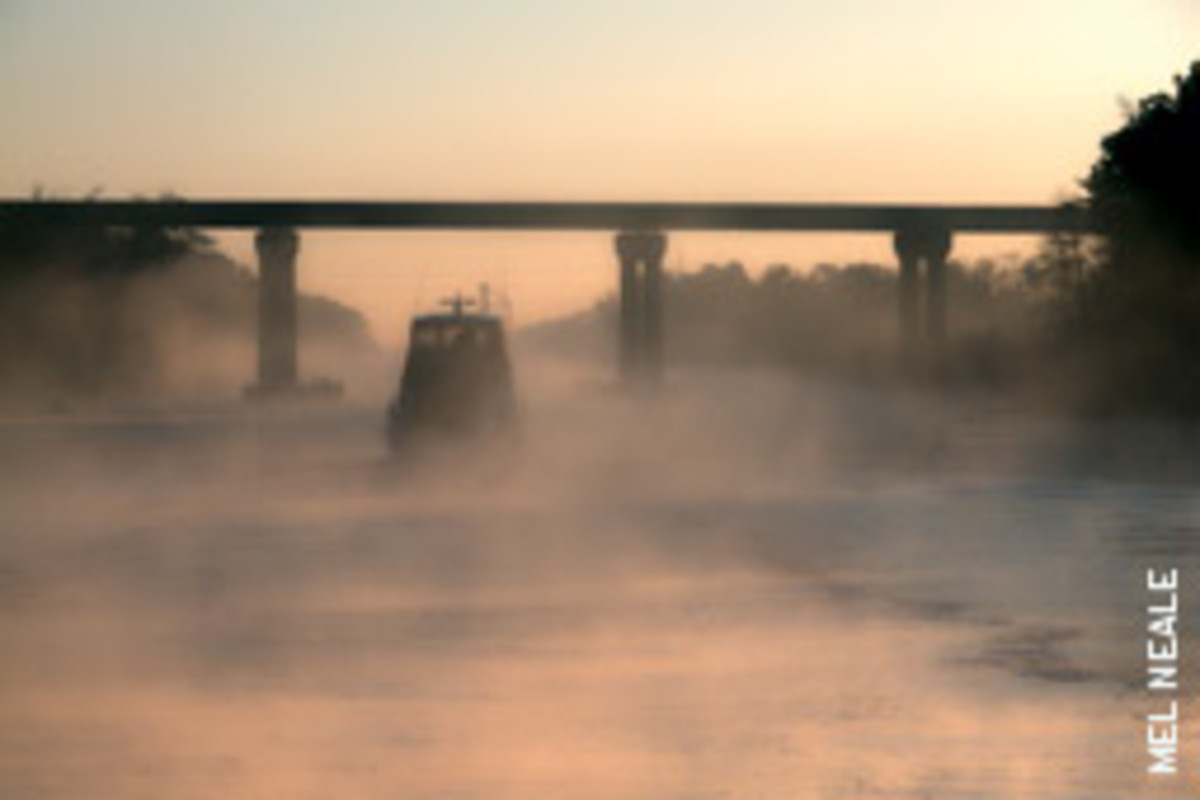 Boats should move slowly in fog. Navigation Rules require vessels to reduce their speed to as low a level as is prudent under the circumstances.