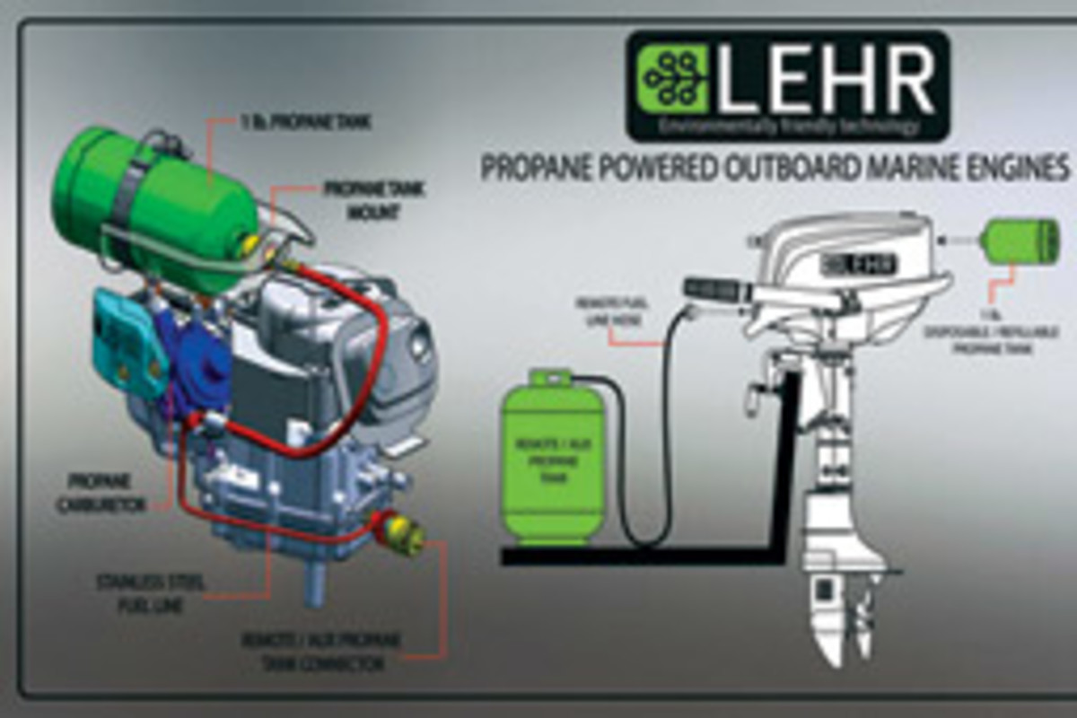 Lehr says a gallon of propane can power a 5-hp outboard for as long as two hours and the 2.5-hp model for as long as four hours.