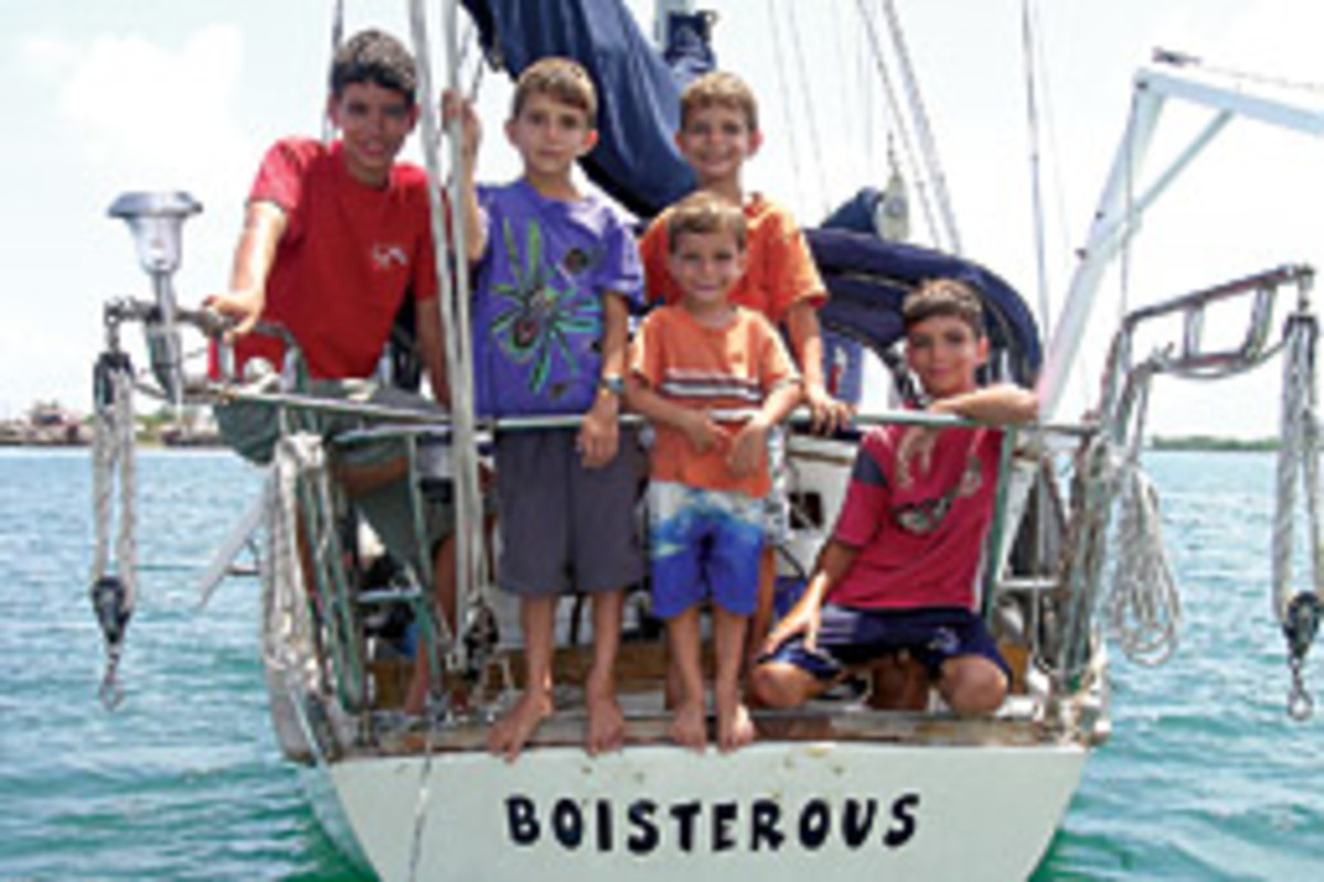 With five young boys aboard, the family boat is appropriately named Boisterous.