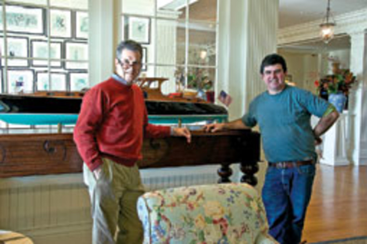 Centerbrook Architects partner Jeff Riley, left, and Patrick McCauley, the firm's master model maker, with Aphrodite.