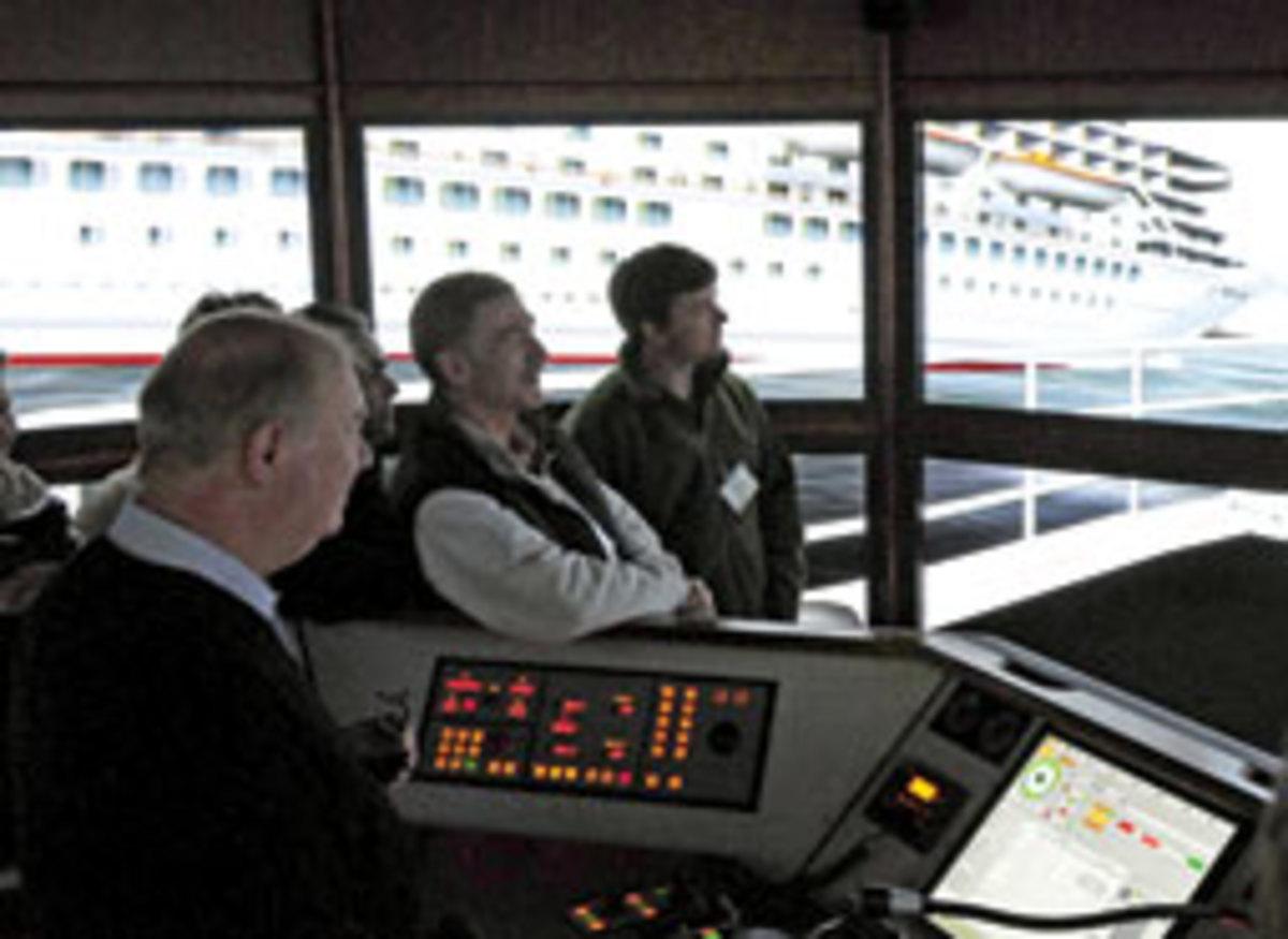 Participants experience piloting a large vessel through a simulation program.