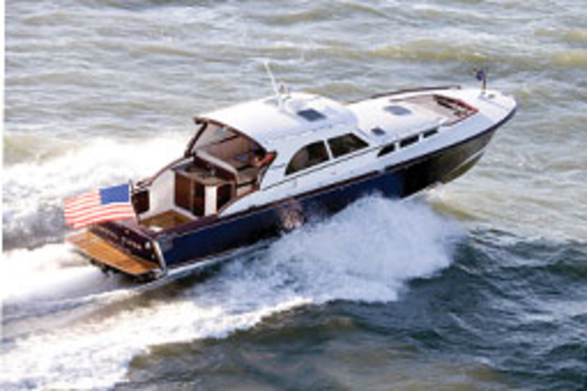 Gerr's jet-driven Coastal Flyer and aluminum-hulled Kanter 57 (pictured) combine good looks, seakindliness, strength and efficiency.