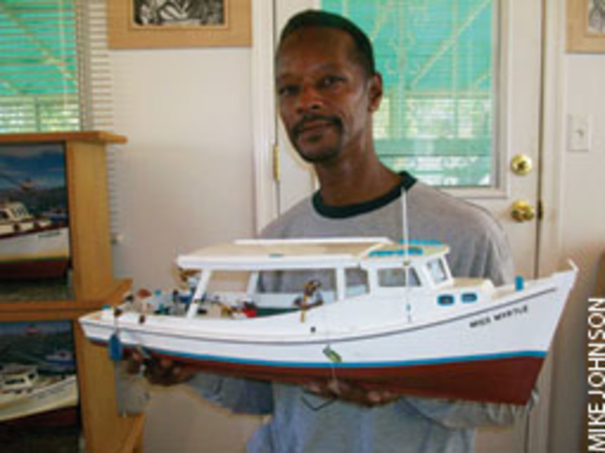 Norman Gross is memorializing his family's workboats in models. This is his father's boat, Miss Myrtle.