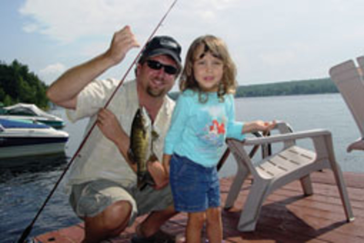 Downtime includes fishing with his daughter Ella.