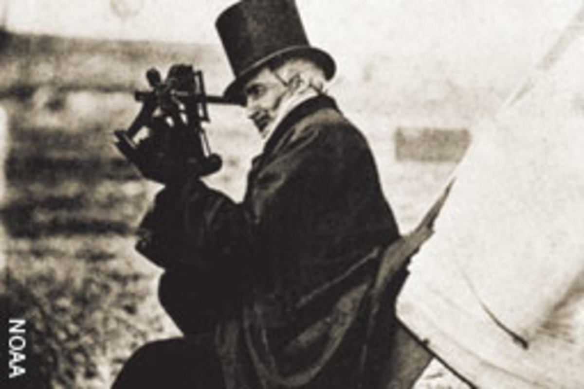 Alexander Dallas Bache peers through a sextant in the field.