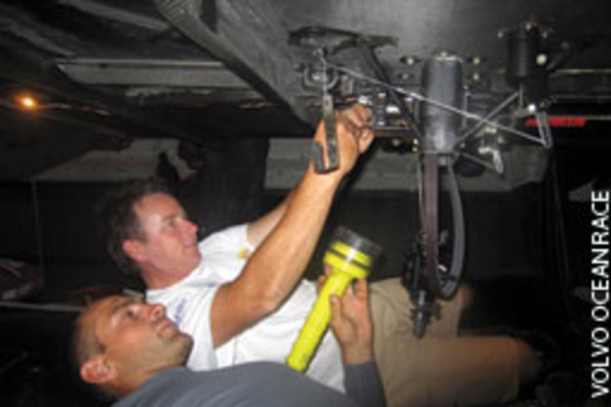 Peter Doriean (white shirt) - fixing a winch during the Volvo Ocean Race with Olympic 49er champion Xabi Fernandez - was a sought-after professional sailor.