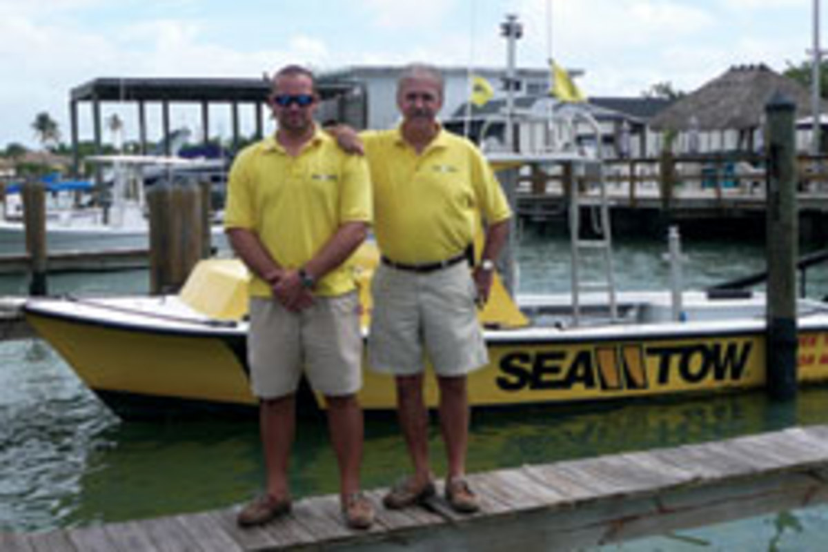 Sea Tow Naples Capt. Dan Mercier Jr. and Dan Sr., owner of the franchise.
