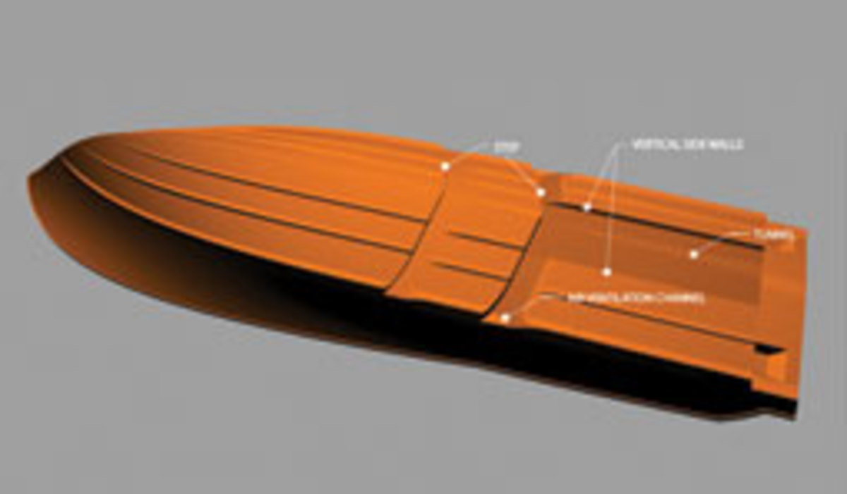MPYD's stepped hull uses a tunnel with vertical side walls that act as mini keels.