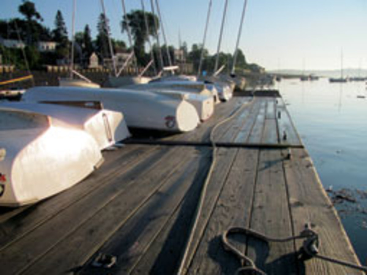 Dinghies on the dock at Castine Yacht Club