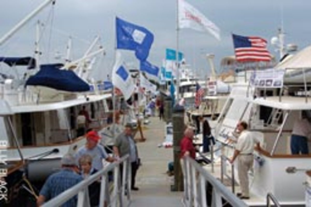 A sunny Saturday afternoon brought crowds of people to the inaugural Spring Boat Show in Essex, Conn.