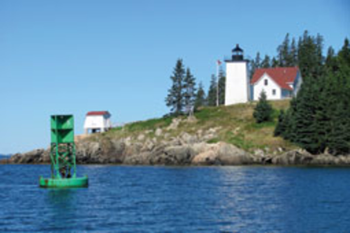 The lighthouse at the entrance to Burnt Coat Harbor, Swans Island.