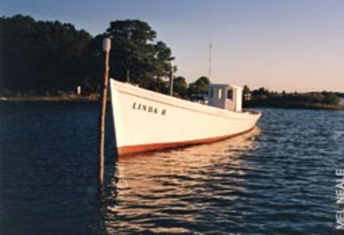 Linda R at her mooring off Gwynn's Island in Viriginia. Waterman Wilson Rowe worked the Chesapeake Bay all of his life.