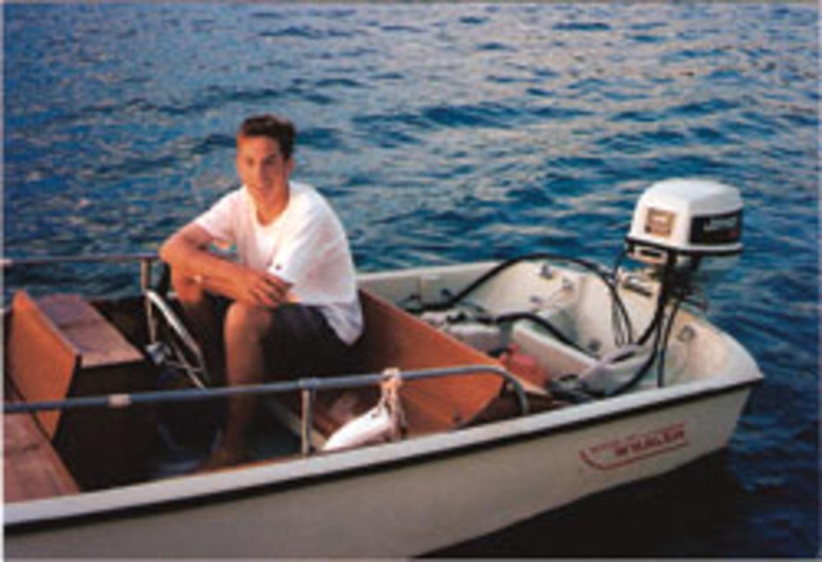 Allard at age 16 aboard a Boston Whaler.