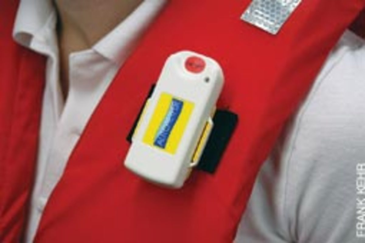 The Autotether is a wireless kill switch that also sounds an alarm when a person wearing the sensor falls overboard.