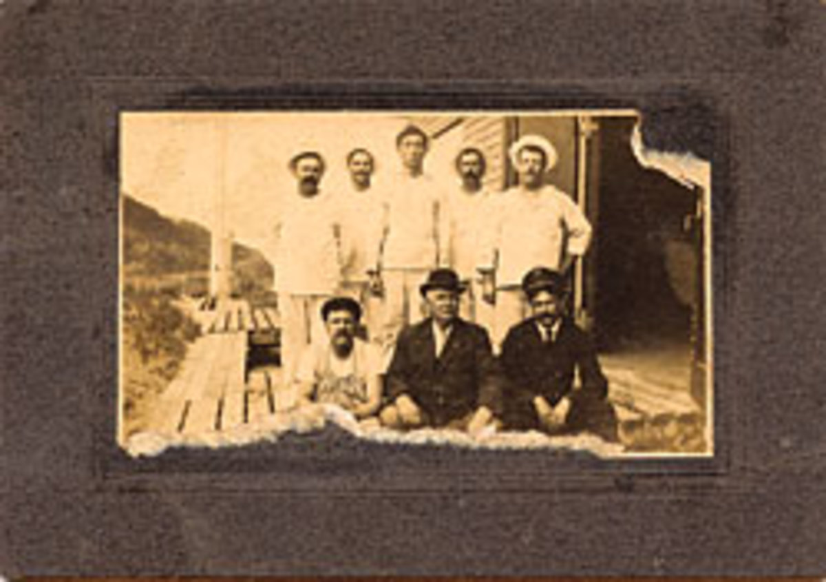 Another of Sisson's grandfathers was a surfman in the U.S. Lifesaving Service (back row, middle).