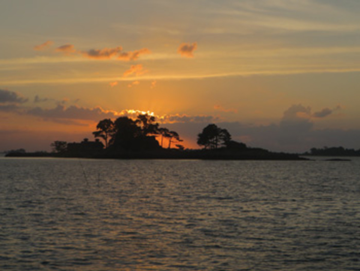 Sunrise over Tavern Island, 2016, from a guest mooring at the Norwalk Yacht Club.