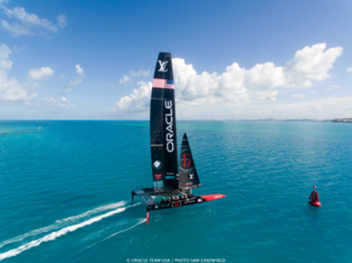 Oracle Team USA has been improving upwind speeds by practicing foiling tacks.