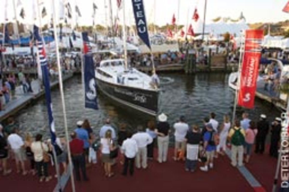 Beneteau demonstrated its new docking system on a Sense 50 at the U.S. Sailboat Show in Annapolis, Md., in October.