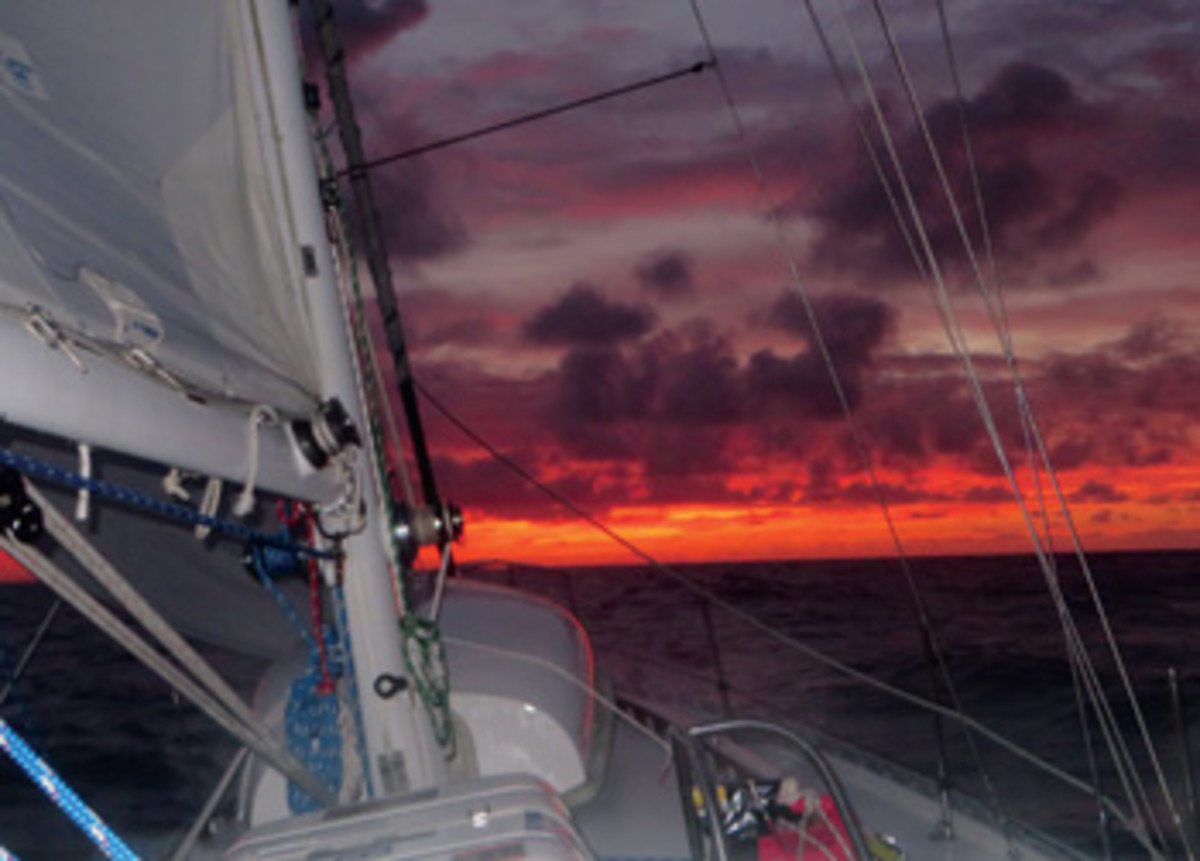 Close reaching with main and staysail for Bermuda.