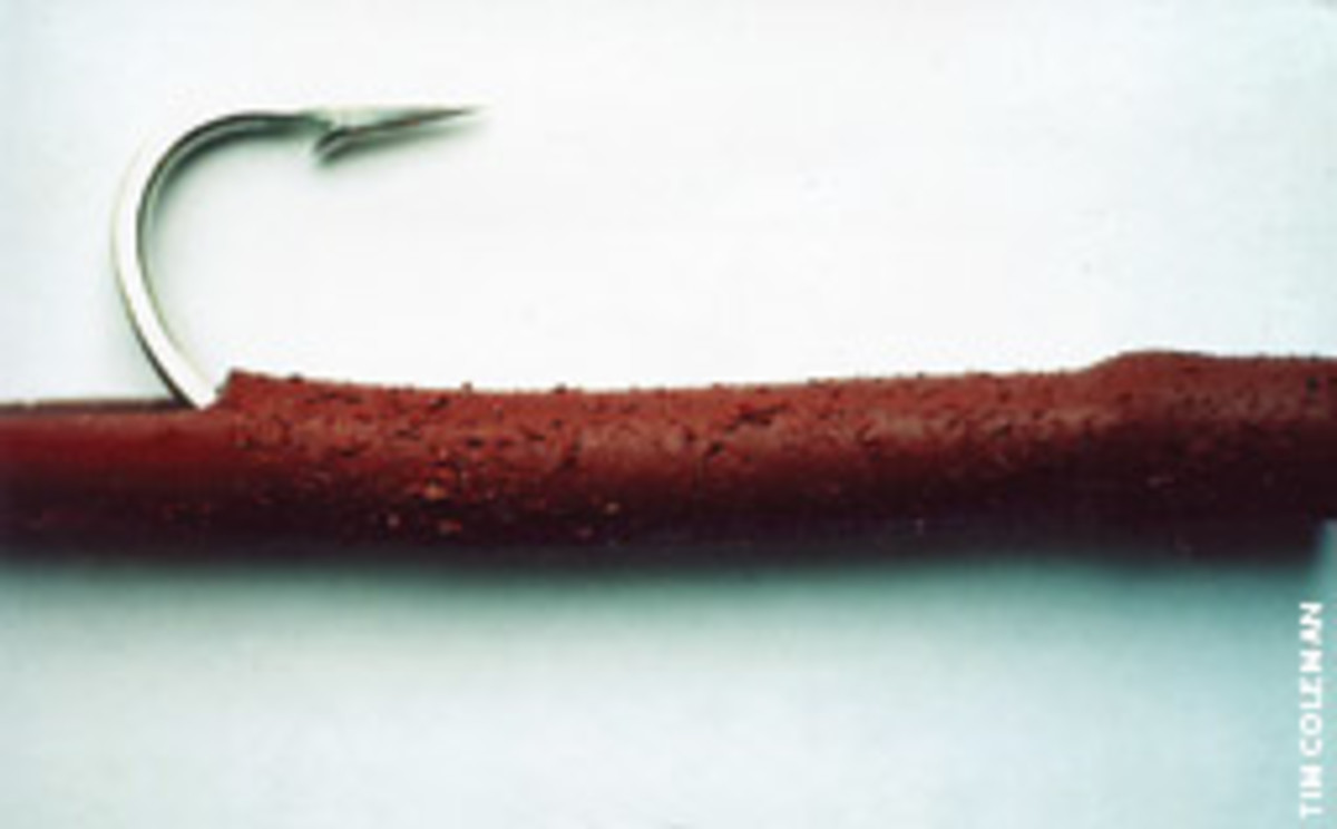 A well-worn tube used for cod jigging that's due for a new hook.